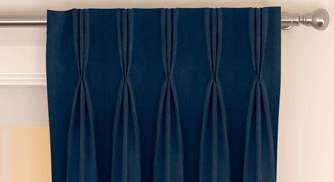 "Matka Door Curtains - Set Of 2 (Navy Blue, 112 x 213 cm  (44"" x 84"") Curtain Size) by Urban Ladder - Front View Design 1 - 326310"