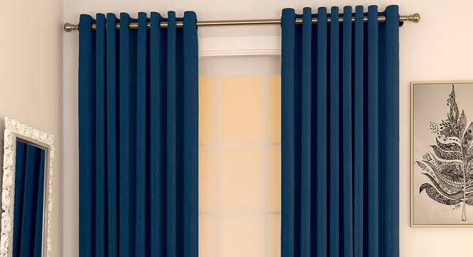 "Matka Door Curtains - Set Of 2 (Navy Blue, 112 x 213 cm  (44"" x 84"") Curtain Size) by Urban Ladder - Design 1 Full View - 326316"