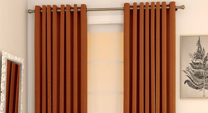 "Matka Door Curtains - Set Of 2 (Orange, 112 x 213 cm  (44"" x 84"") Curtain Size) by Urban Ladder - Design 1 Full View - 326340"