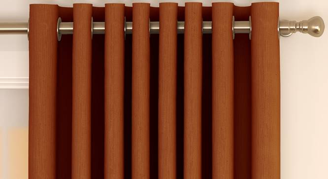 "Matka Door Curtains - Set Of 2 (Orange, 112 x 213 cm  (44"" x 84"") Curtain Size) by Urban Ladder - Front View Design 1 - 326341"