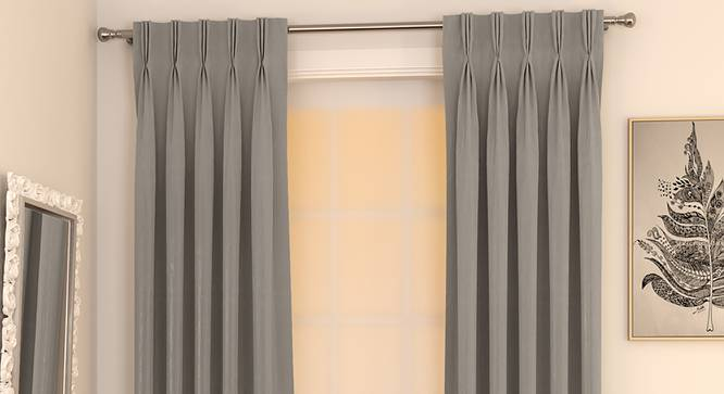 "Matka Door Curtains - Set Of 2 (112 x 213 cm  (44"" x 84"") Curtain Size, SLATE) by Urban Ladder - Design 1 Full View - 326346"