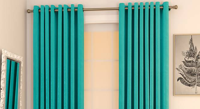 "Matka Door Curtains - Set Of 2 (Turquoise, 112 x 213 cm  (44"" x 84"") Curtain Size) by Urban Ladder - Design 1 Full View - 326369"