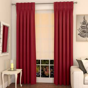 """Matka Door Curtains - Set Of 2 (Crimson Red, 112 x 274 cm  (44"""" x 108"""") Curtain Size) by Urban Ladder - Design 1 Full View - 326394"""