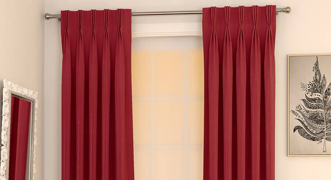 "Matka Door Curtains - Set Of 2 (Crimson Red, 112 x 274 cm  (44"" x 108"") Curtain Size) by Urban Ladder - Design 1 Full View - 326394"