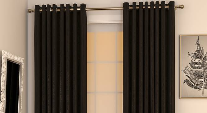 "Matka Door Curtains - Set Of 2 (112 x 274 cm  (44"" x 108"") Curtain Size, Ebony) by Urban Ladder - Design 1 Full View - 326436"