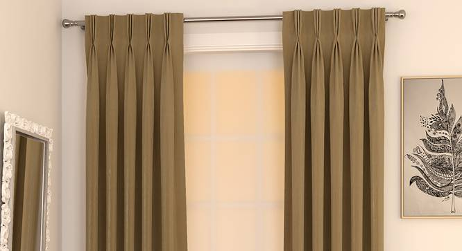 "Matka Door Curtains - Set Of 2 (112 x 274 cm  (44"" x 108"") Curtain Size, Khaki) by Urban Ladder - Design 1 Full View - 326466"