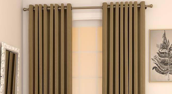 "Matka Door Curtains - Set Of 2 (112 x 274 cm  (44"" x 108"") Curtain Size, Khaki) by Urban Ladder - Design 1 Full View - 326472"
