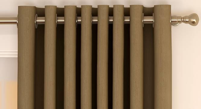 "Matka Door Curtains - Set Of 2 (112 x 274 cm  (44"" x 108"") Curtain Size, Khaki) by Urban Ladder - Front View Design 1 - 326473"