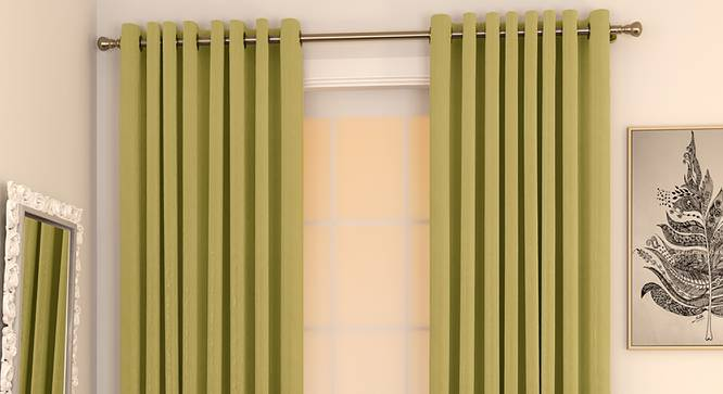 "Matka Door Curtains - Set Of 2 (Lime Green, 112 x 274 cm  (44"" x 108"") Curtain Size) by Urban Ladder - Design 1 Full View - 326484"