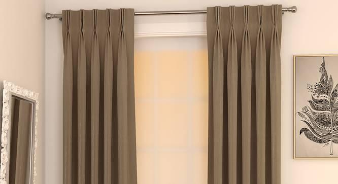 "Matka Door Curtains - Set Of 2 (Mocha, 112 x 274 cm  (44"" x 108"") Curtain Size) by Urban Ladder - Design 1 Full View - 326502"