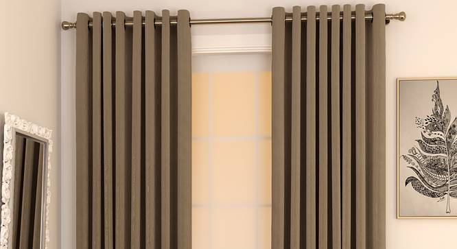 "Matka Door Curtains - Set Of 2 (Mocha, 112 x 274 cm  (44"" x 108"") Curtain Size) by Urban Ladder - Design 1 Full View - 326507"