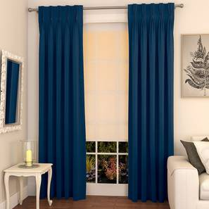 """Matka Door Curtains - Set Of 2 (Navy Blue, 112 x 274 cm  (44"""" x 108"""") Curtain Size) by Urban Ladder - Design 1 Full View - 326514"""