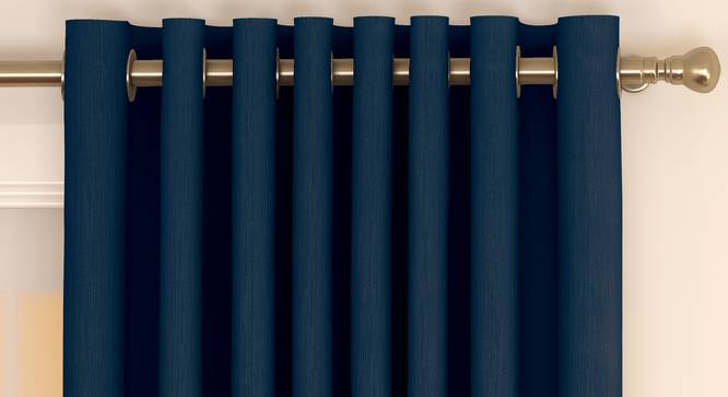"Matka Door Curtains - Set Of 2 (Navy Blue, 112 x 274 cm  (44"" x 108"") Curtain Size) by Urban Ladder - Front View Design 1 - 326521"