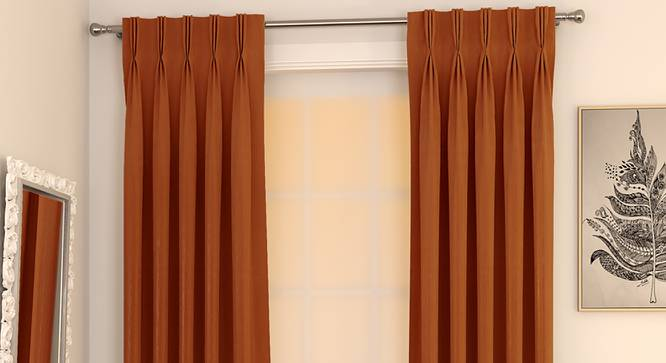 "Matka Door Curtains - Set Of 2 (Orange, 112 x 274 cm  (44"" x 108"") Curtain Size) by Urban Ladder - Design 1 Full View - 326538"