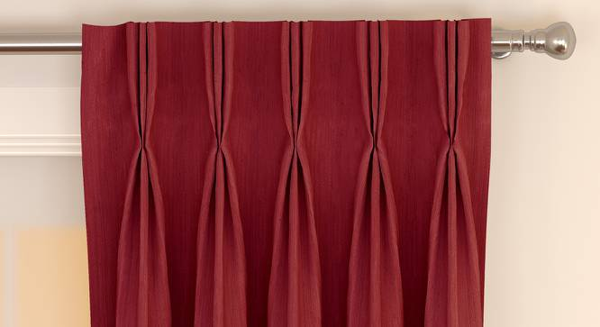 """Matka Window Curtains - Set Of 2 (Crimson Red, 112 x 152 cm  (44"""" x 60"""") Curtain Size) by Urban Ladder - Front View Design 1 - 326602"""