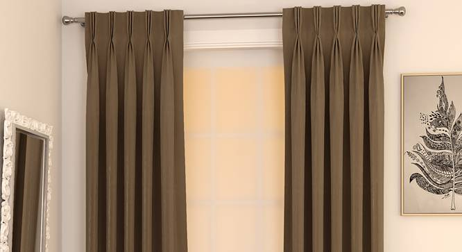 """Matka Window Curtains - Set Of 2 (Coffee, 112 x 152 cm  (44"""" x 60"""") Curtain Size) by Urban Ladder - Design 1 Full View - 326611"""