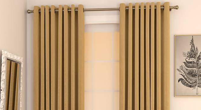 "Matka Window Curtains - Set Of 2 (Beige, 112 x 152 cm  (44"" x 60"") Curtain Size) by Urban Ladder - Design 1 Full View - 326617"