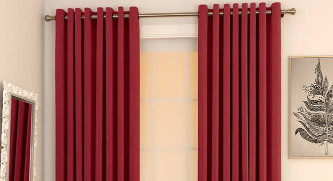 """Matka Window Curtains - Set Of 2 (Crimson Red, 112 x 152 cm  (44"""" x 60"""") Curtain Size) by Urban Ladder - Design 1 Full View - 326625"""