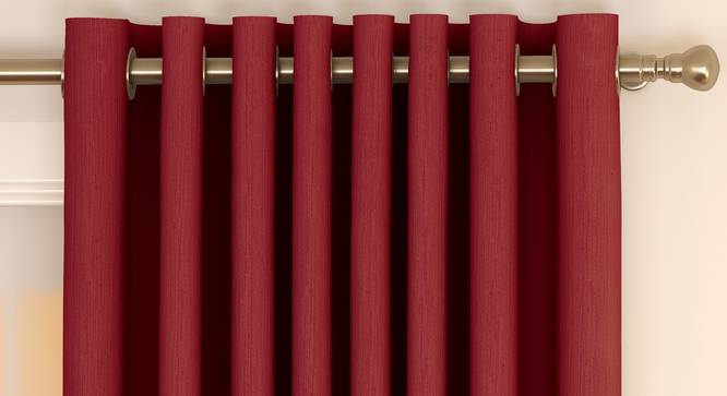 """Matka Window Curtains - Set Of 2 (Crimson Red, 112 x 152 cm  (44"""" x 60"""") Curtain Size) by Urban Ladder - Front View Design 1 - 326626"""