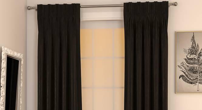 "Matka Window Curtains - Set Of 2 (112 x 152 cm  (44"" x 60"") Curtain Size, Ebony) by Urban Ladder - Design 1 Full View - 326633"