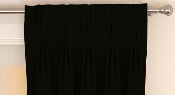 """Matka Window Curtains - Set Of 2 (112 x 152 cm  (44"""" x 60"""") Curtain Size, Ebony) by Urban Ladder - Front View Design 1 - 326635"""