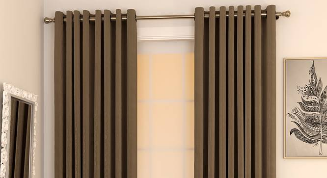 """Matka Window Curtains - Set Of 2 (Coffee, 112 x 152 cm  (44"""" x 60"""") Curtain Size) by Urban Ladder - Design 1 Full View - 326640"""