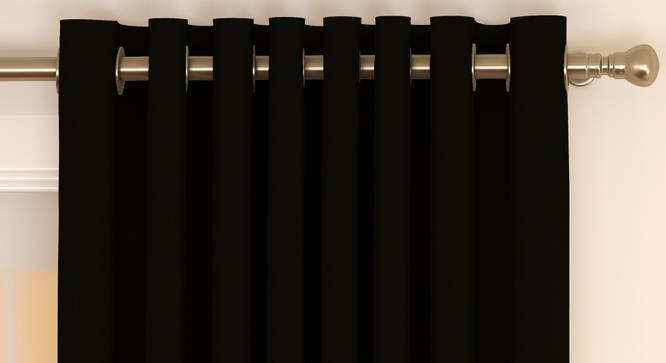 """Matka Window Curtains - Set Of 2 (112 x 152 cm  (44"""" x 60"""") Curtain Size, Ebony) by Urban Ladder - Front View Design 1 - 326649"""