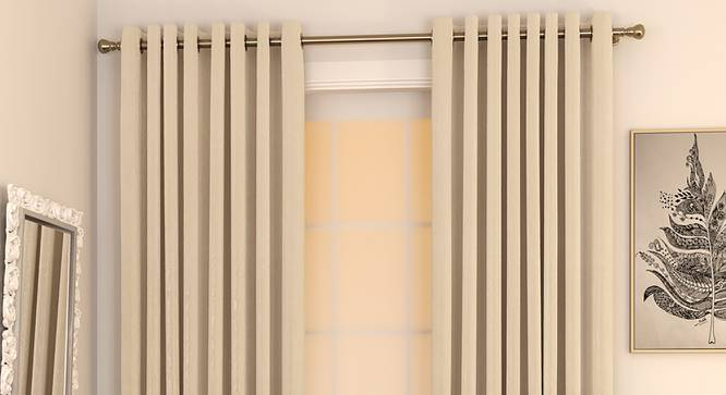 "Matka Window Curtains - Set Of 2 (Cream, 112 x 152 cm  (44"" x 60"") Curtain Size) by Urban Ladder - Design 1 Full View - 326667"