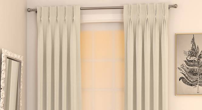 """Matka Window Curtains - Set Of 2 (Ivory, 112 x 152 cm  (44"""" x 60"""") Curtain Size) by Urban Ladder - Design 1 Full View - 326675"""