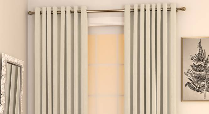 """Matka Window Curtains - Set Of 2 (Ivory, 112 x 152 cm  (44"""" x 60"""") Curtain Size) by Urban Ladder - Design 1 Full View - 326680"""