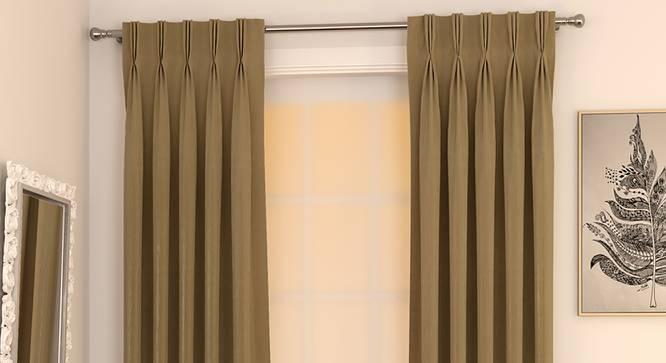 "Matka Window Curtains - Set Of 2 (112 x 152 cm  (44"" x 60"") Curtain Size, Khaki) by Urban Ladder - Design 1 Full View - 326719"
