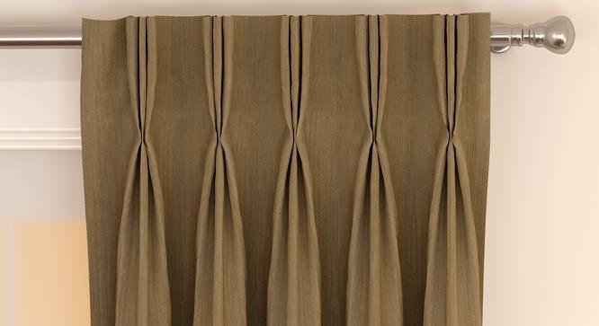 "Matka Window Curtains - Set Of 2 (112 x 152 cm  (44"" x 60"") Curtain Size, Khaki) by Urban Ladder - Front View Design 1 - 326720"