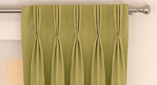 """Matka Window Curtains - Set Of 2 (Lime Green, 112 x 152 cm  (44"""" x 60"""") Curtain Size) by Urban Ladder - Front View Design 1 - 326731"""