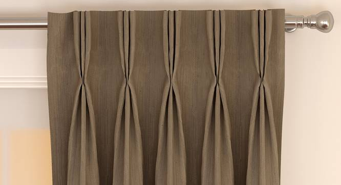 """Matka Window Curtains - Set Of 2 (Mocha, 112 x 152 cm  (44"""" x 60"""") Curtain Size) by Urban Ladder - Front View Design 1 - 326776"""