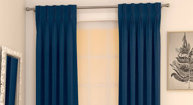 """Matka Window Curtains - Set Of 2 (Navy Blue, 112 x 152 cm  (44"""" x 60"""") Curtain Size) by Urban Ladder - Design 1 Full View - 326787"""