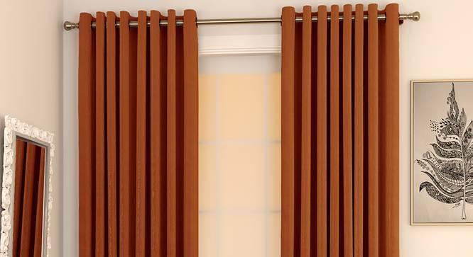 "Matka Window Curtains - Set Of 2 (Orange, 112 x 152 cm  (44"" x 60"") Curtain Size) by Urban Ladder - Design 1 Full View - 326803"