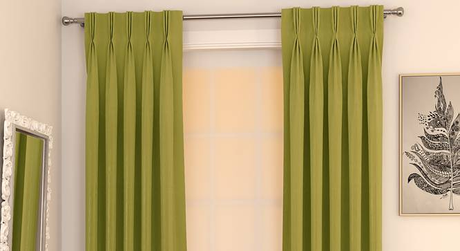 """Matka Window Curtains - Set Of 2 (Olive Green, 112 x 152 cm  (44"""" x 60"""") Curtain Size) by Urban Ladder - Design 1 Full View - 326812"""