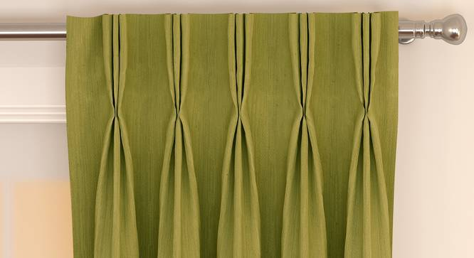 """Matka Window Curtains - Set Of 2 (Olive Green, 112 x 152 cm  (44"""" x 60"""") Curtain Size) by Urban Ladder - Front View Design 1 - 326815"""