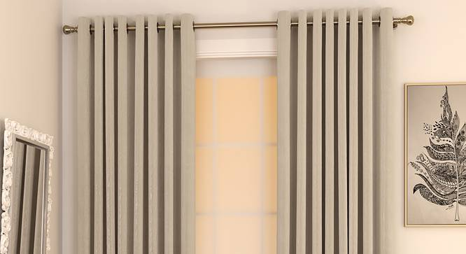 """Matka Window Curtains - Set Of 2 (Stone, 112 x 152 cm  (44"""" x 60"""") Curtain Size) by Urban Ladder - Design 1 Full View - 326821"""