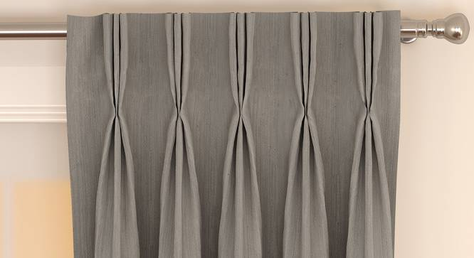 """Matka Window Curtains - Set Of 2 (112 x 152 cm  (44"""" x 60"""") Curtain Size, SLATE) by Urban Ladder - Front View Design 1 - 326822"""