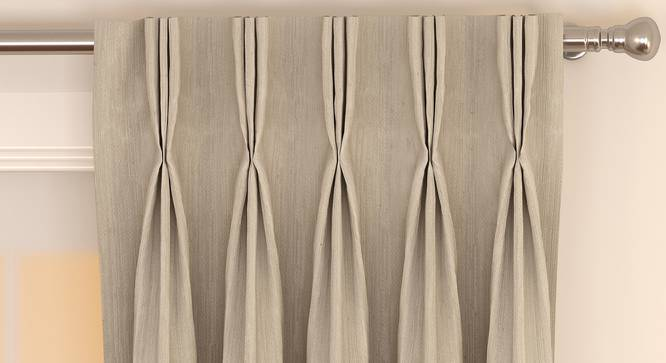"""Matka Window Curtains - Set Of 2 (Stone, 112 x 152 cm  (44"""" x 60"""") Curtain Size) by Urban Ladder - Front View Design 1 - 326825"""
