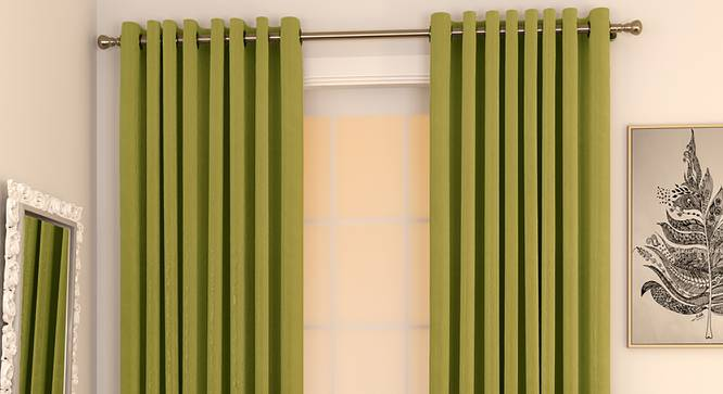 """Matka Window Curtains - Set Of 2 (Olive Green, 112 x 152 cm  (44"""" x 60"""") Curtain Size) by Urban Ladder - Design 1 Full View - 326838"""