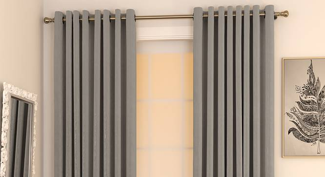 """Matka Window Curtains - Set Of 2 (112 x 152 cm  (44"""" x 60"""") Curtain Size, SLATE) by Urban Ladder - Design 1 Full View - 326841"""