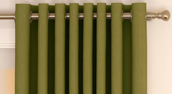 """Matka Window Curtains - Set Of 2 (Olive Green, 112 x 152 cm  (44"""" x 60"""") Curtain Size) by Urban Ladder - Front View Design 1 - 326843"""