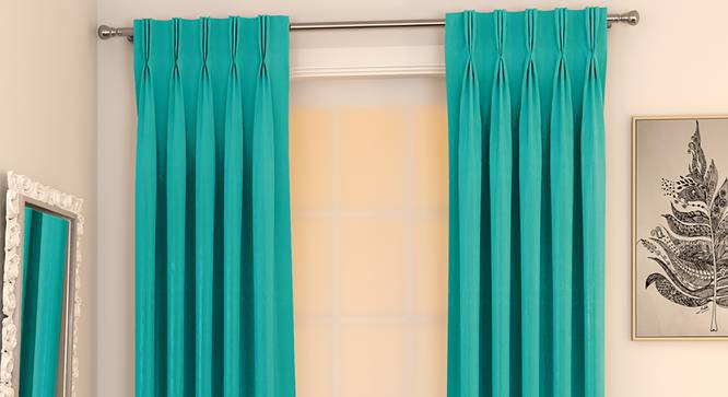 """Matka Window Curtains - Set Of 2 (Turquoise, 112 x 152 cm  (44"""" x 60"""") Curtain Size) by Urban Ladder - Design 1 Full View - 326861"""