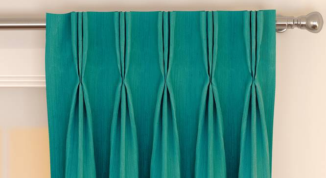 """Matka Window Curtains - Set Of 2 (Turquoise, 112 x 152 cm  (44"""" x 60"""") Curtain Size) by Urban Ladder - Front View Design 1 - 326863"""