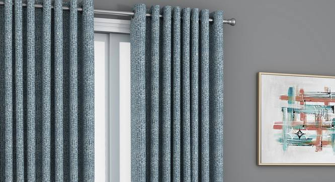 "Bark Door Curtains - Set Of 2 (Blue, 112 x 213 cm  (44"" x 84"") Curtain Size) by Urban Ladder - Design 1 Full View - 326875"