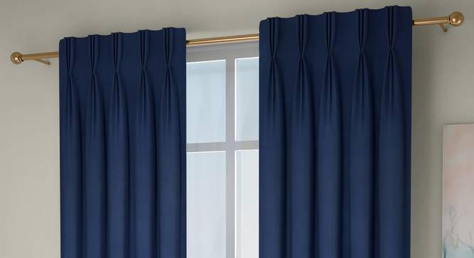 "Diablo Window Curtains - Set Of 2 (Blue, 112 x 152 cm  (44"" x 60"") Curtain Size) by Urban Ladder - Cross View Design 1 - 326994"