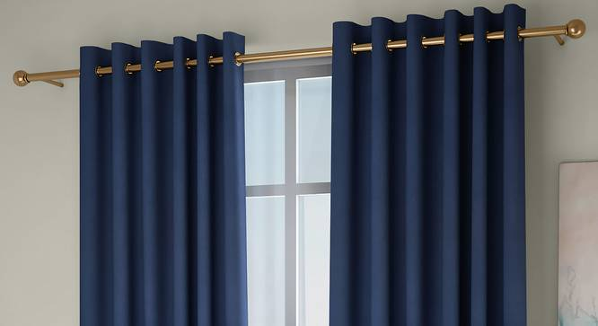 "Diablo Window Curtains - Set Of 2 (Blue, 112 x 152 cm  (44"" x 60"") Curtain Size) by Urban Ladder - Front View Design 1 - 326996"