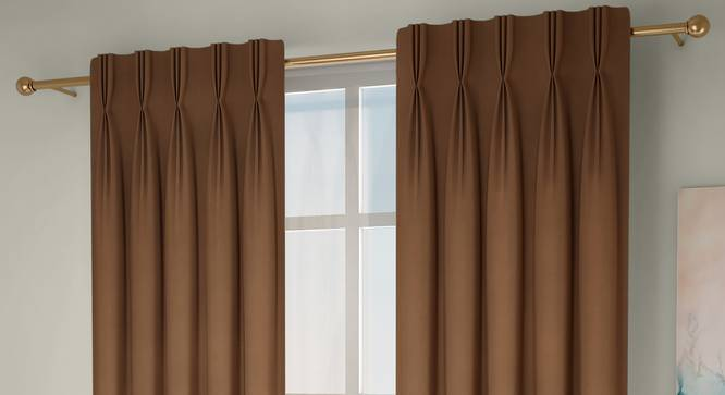 """Diablo Window Curtains - Set Of 2 (Brown, 112 x 152 cm  (44"""" x 60"""") Curtain Size) by Urban Ladder - Front View Design 1 - 327002"""